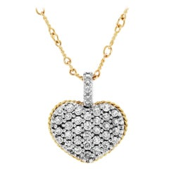 White and Yellow Gold Heart Pendant Necklace with Diamonds Stambolian