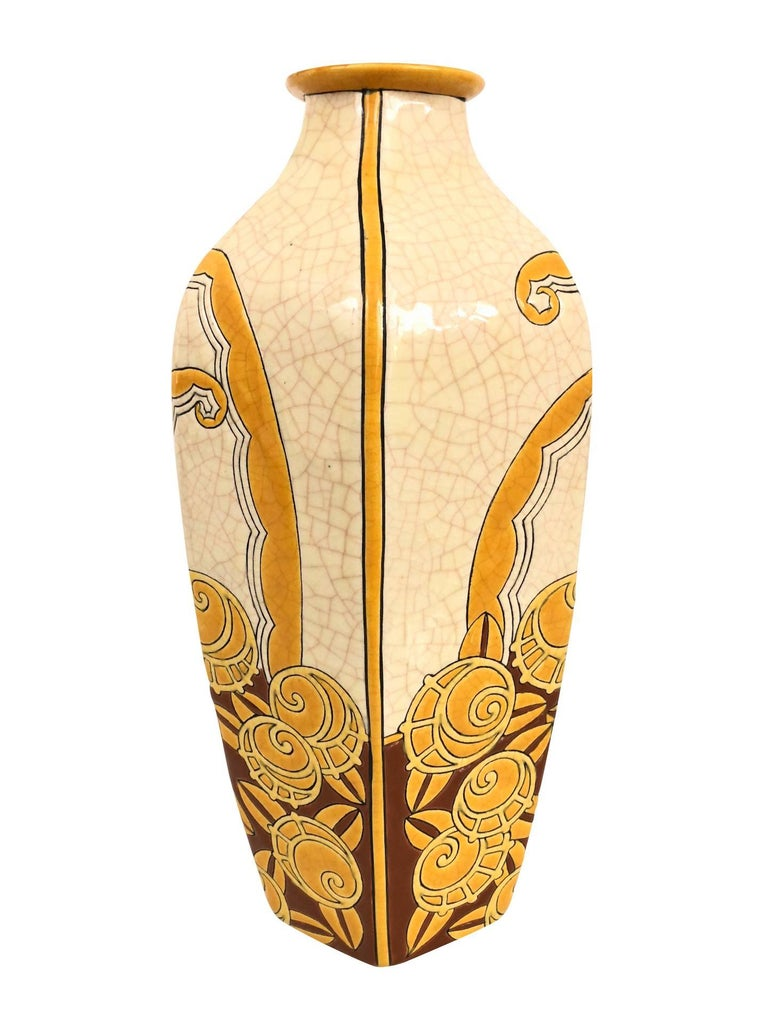 French White and Yellow Longwy Vase with Craqueling Glaze, Art Deco, France, 1930s For Sale