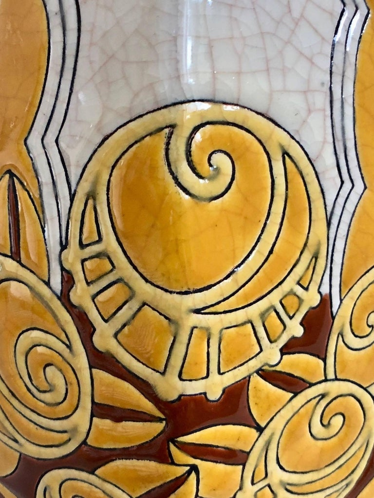 Mid-20th Century White and Yellow Longwy Vase with Craqueling Glaze, Art Deco, France, 1930s For Sale