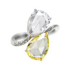 White and Yellow Rose Cut Pear Diamond Cocktail Ring in 18 Karat Gold