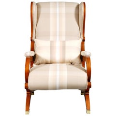 White Armchair Made Mahogany  in Biedermeier Style