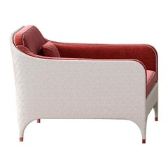 White Armchair with Red Cushions