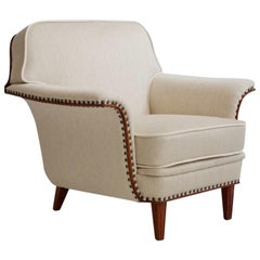 White Armchair with Stained Beech Legs