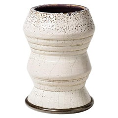 White Art Deco Ceramic and Silver Vase Attributed to Jean Besnard Decorative Art