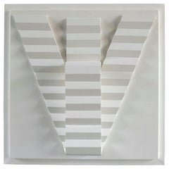 White Art Relief of Imaginary V-Shape Stairs by Sigmun, Dutch 1980s