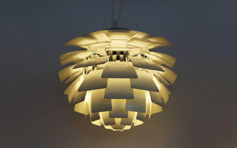 White artichoke lamp by poul henningsen for louis poulsen medium this is an authentic recent production artichoke chandelier light fixture designed by poul henningsen and aloadofball Image collections
