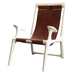 White Ash & Leather Sling Chair by Fernweh Woodworking
