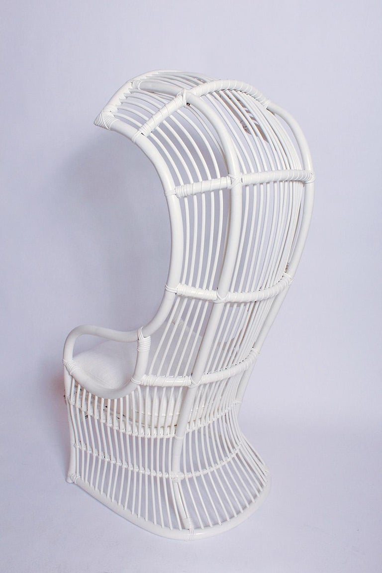 Organic Modern White Bamboo and Rattan Canopy Chair by Henry Olko for Willow and Reed For Sale