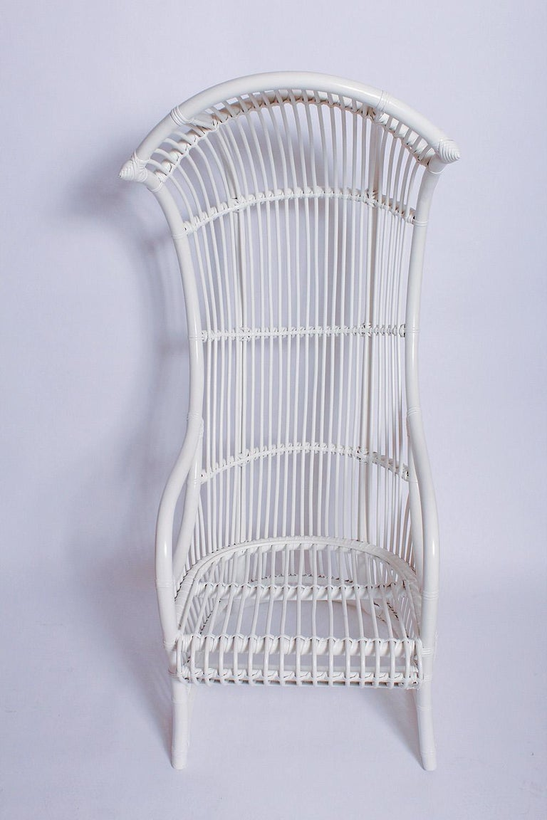 American White Bamboo and Rattan Canopy Chair by Henry Olko for Willow and Reed For Sale