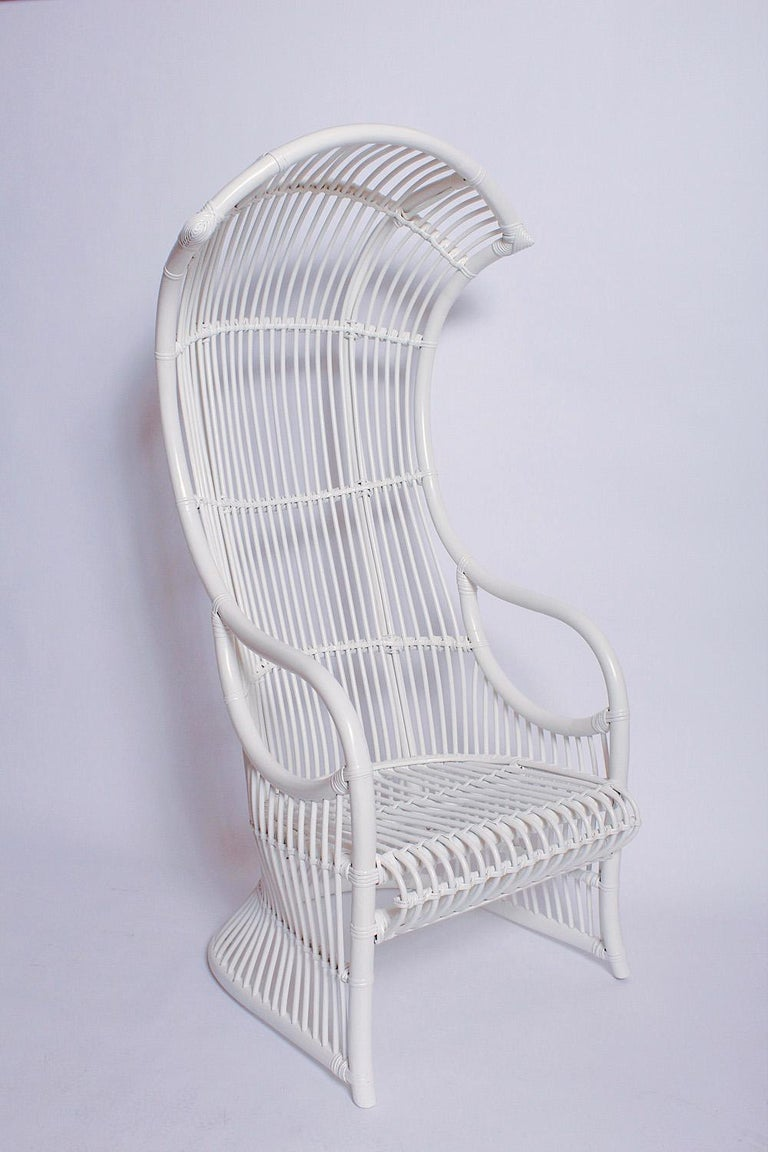 Painted White Bamboo and Rattan Canopy Chair by Henry Olko for Willow and Reed For Sale