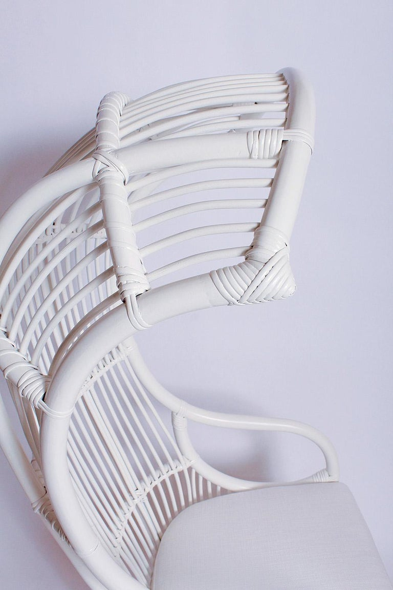 White Bamboo and Rattan Canopy Chair by Henry Olko for Willow and Reed In Good Condition For Sale In North Miami, FL