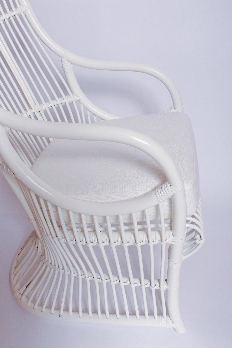 Late 20th Century White Bamboo and Rattan Canopy Chair by Henry Olko for Willow and Reed For Sale