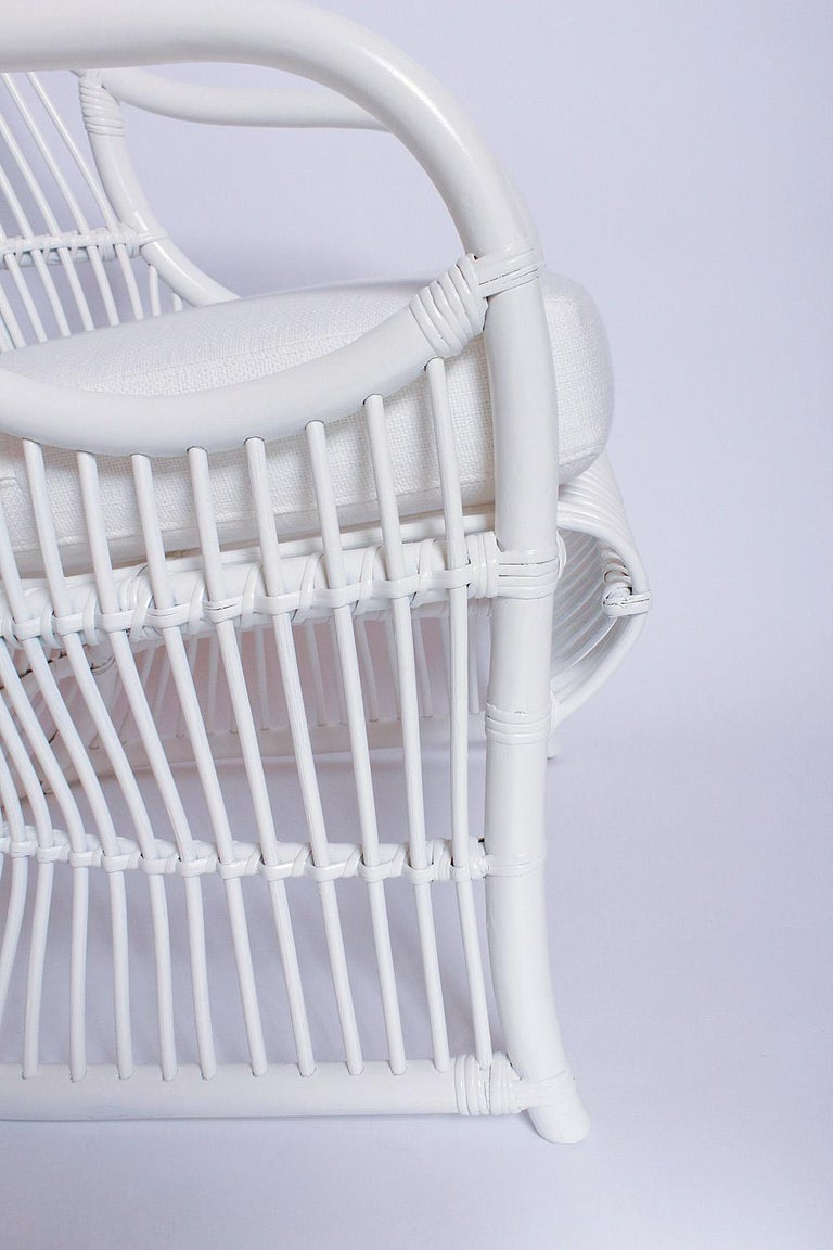 Upholstery White Bamboo and Rattan Canopy Chair by Henry Olko for Willow and Reed For Sale