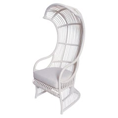 White Bamboo and Rattan Canopy Chair by Henry Olko for Willow and Reed