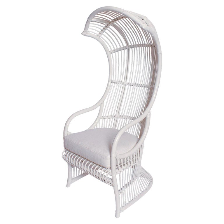 White Bamboo and Rattan Canopy Chair by Henry Olko for Willow and Reed For Sale