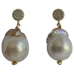 White Baroque Cultured Pearl Cubic Zirconia 925 Vermeil Sterling Silver Earrings