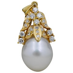 White Baroque Pearl 18 Karat Yellow Gold Pendant