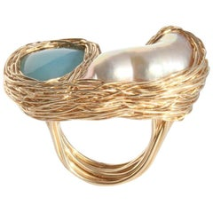 White Baroque Pearl & Blue Chalcedony Gold Woven Cocktail Ring by Sheila Westera