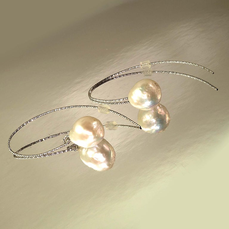 White Baroque Pearl on Long Sterling Silver Wire Hook Earrings In New Condition For Sale In Tuxedo Park, NY