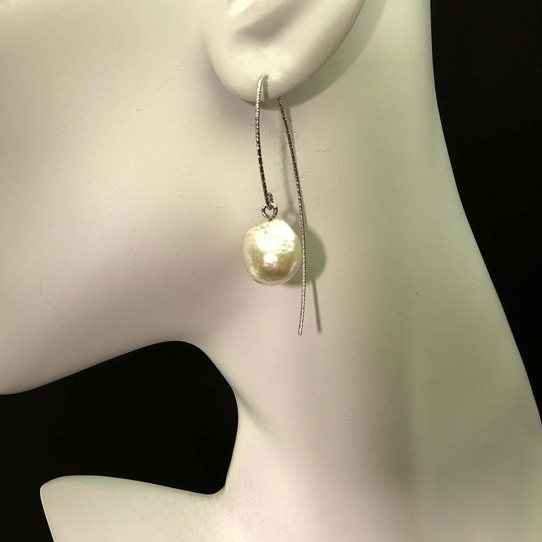 Women's or Men's White Baroque Pearl on Long Sterling Silver Wire Hook Earrings For Sale