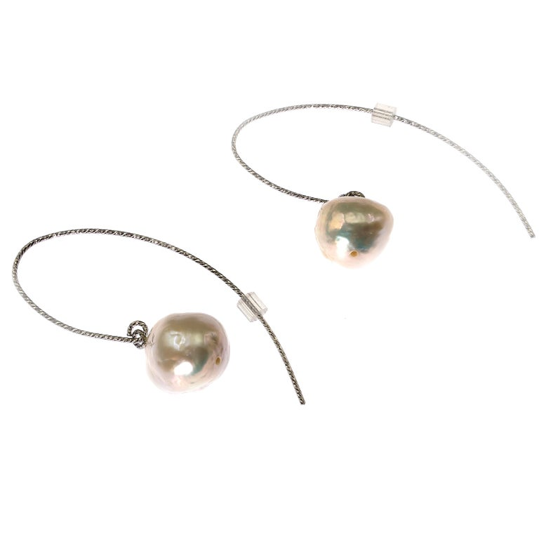 White Baroque Pearl on Long Sterling Silver Wire Hook Earrings For Sale