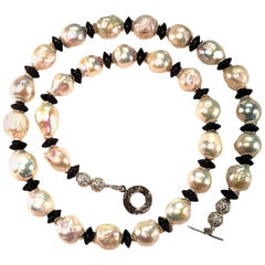 White Baroque Pearl with Black Tourmaline Accents Necklace