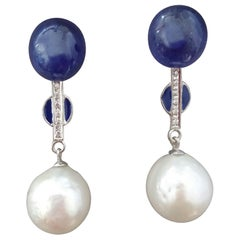 White Baroque Pearls Gold Diamonds Blue Sapphire Cab Blue Enamel Earrings