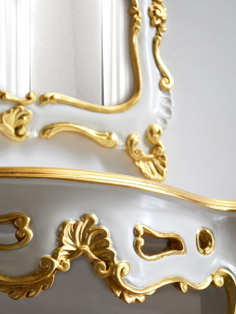 Italian White Baroque Set Console and wall Mirror Carved Wood Gold Leaf Details Handmade For Sale