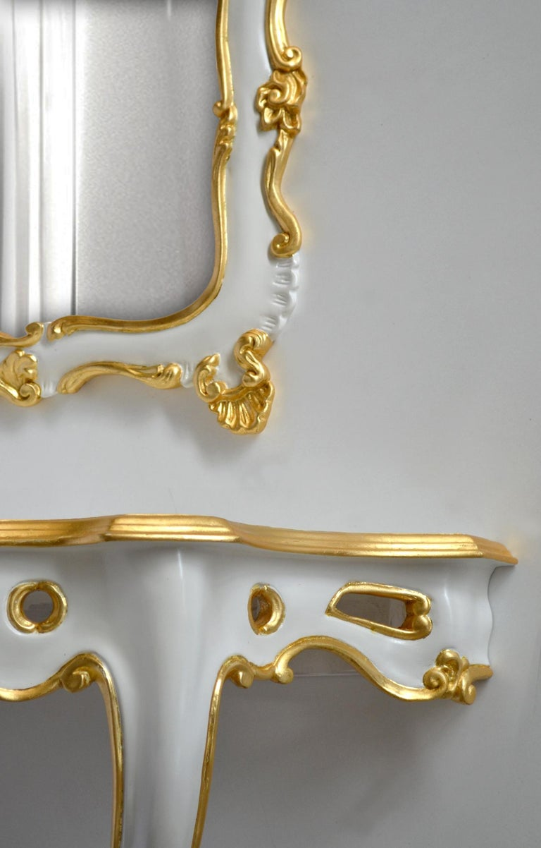 Hand-Crafted White Baroque Set Console and wall Mirror Carved Wood Gold Leaf Details Handmade For Sale