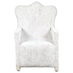 White Beaded Nigerian Chair with Crown Top