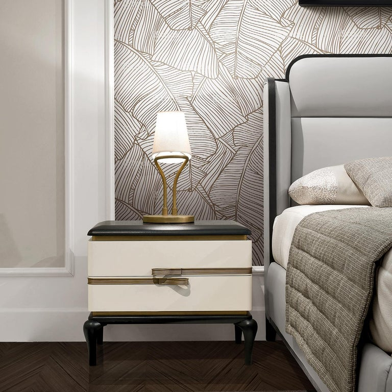 Contemporary White Bedside Table For Sale