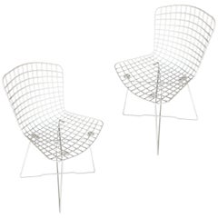 White Bertoia Steel Wire Side Chair by Knoll, Pair