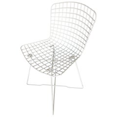 """White Bertoia Steel Wire Side Chair with """"X"""" Base by Knoll, Set of 6"""