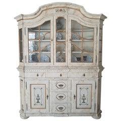White Big Cupboard with Glass Vitrine