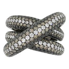 White, Black and Champagne Diamond Crossover Ring