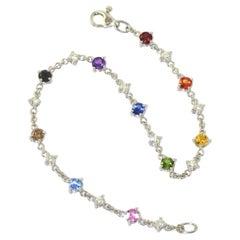 White Black Brown Diamonds Amethyst Sapphires 18KT Gold RAINBOW Bracelet