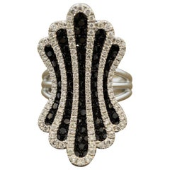 White and Black Diamond Gold Ring