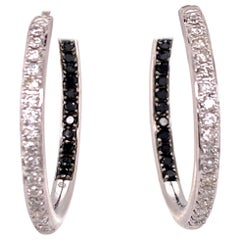 White and Black Diamond In/Out White Gold Hoop Earrings 18 Karat White Gold