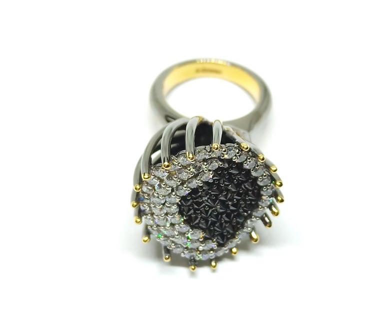 Contemporary White Black Diamond Ring,