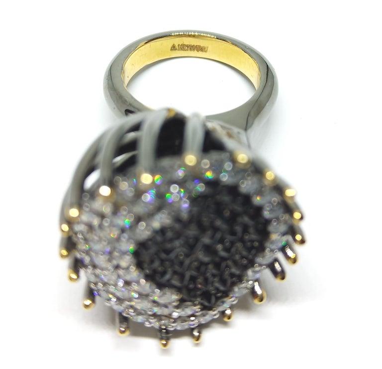 White Black Diamond Ring,