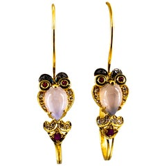 "White Black Diamond Ruby Chalcedony Enamel Yellow Gold Lever-Back ""Owl"" Earrings"