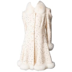 White & Black Dot Coat with Fox Fur Trim, Paris