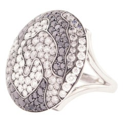 White Black Grey Diamond and Gold Ring