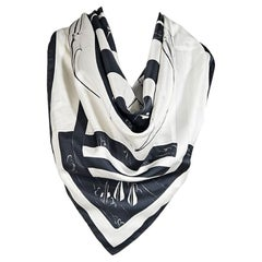White & Black Hermes Archery Silk Scarf