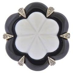 White Black Onyx Diamond Gold Ring