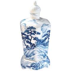 White Blue Ceramic Vase by Japanese Master Artist