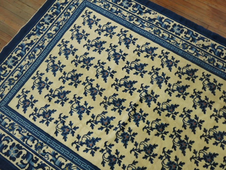 Chinese Export White Blue Chinese Rug For Sale