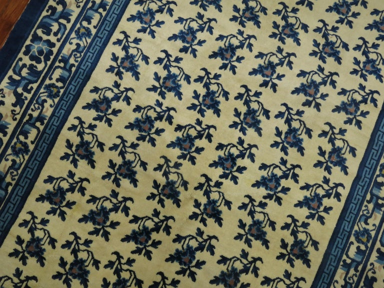 20th Century White Blue Chinese Rug For Sale