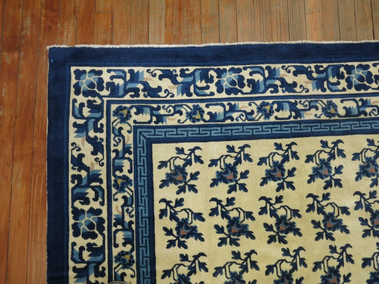 Wool White Blue Chinese Rug For Sale