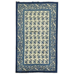 White Blue Chinese Rug
